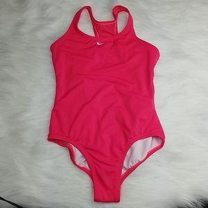 Nike pink one piece girl's swim suit